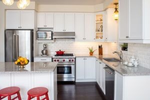small kitchen with ample storage