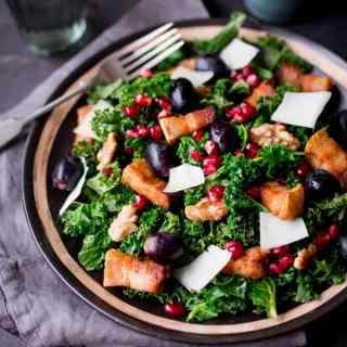 Warm Kale & Pork Belly Salad with Pomegranate Dressing