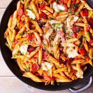 Penne Arrabiata with Mozzarella and Chorizo