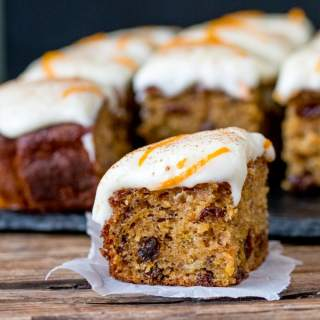 Carrot and Orange Tray Bake with Orange infused Raisins