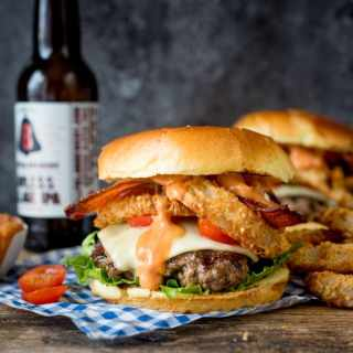 Bacon Cheeseburger with Baked Parmesan Onion Rings