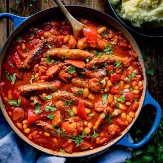 Big Batch Sausage and Bean One Pot