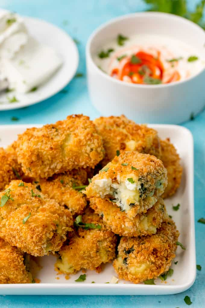Baked Spinach and Goat's Cheese Croquettes – a lighter dinner or appetizer for meatless Mondays! Easily made Gluten Free too!