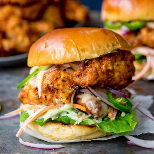 Crispy Chicken Burger with Honey Mustard Coleslaw for National Burger Day – 24th August