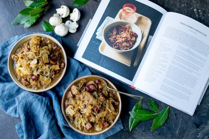 A Polish Classic - Hunter's Stew - or Bigos - from Ren Behan's new book Wild Honey and Rye! Made with polish sausage, pork and mushrooms!