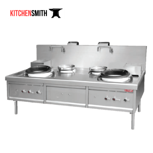 double wok with rear pot airblast cooking range