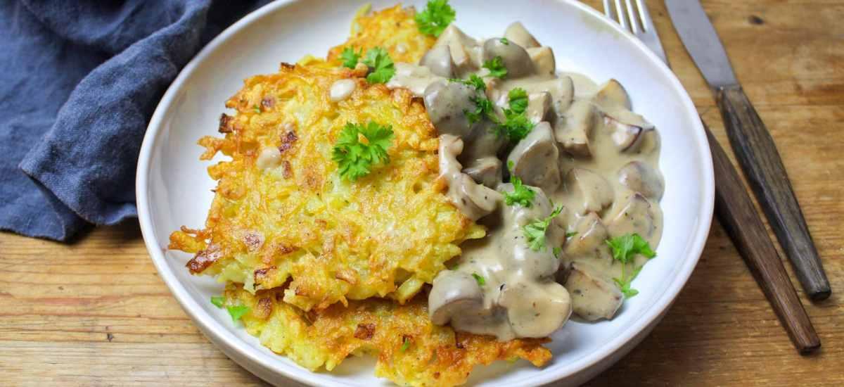 Kartoffelrösti mit Champignonrahmsoße