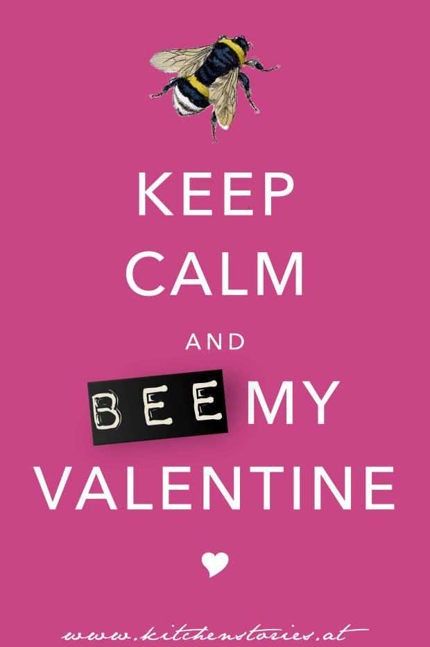"Freebie @Valentines Day 2015 Free Valentine Card ""BEE MY VALENTINE"" von Kitchen Stories"