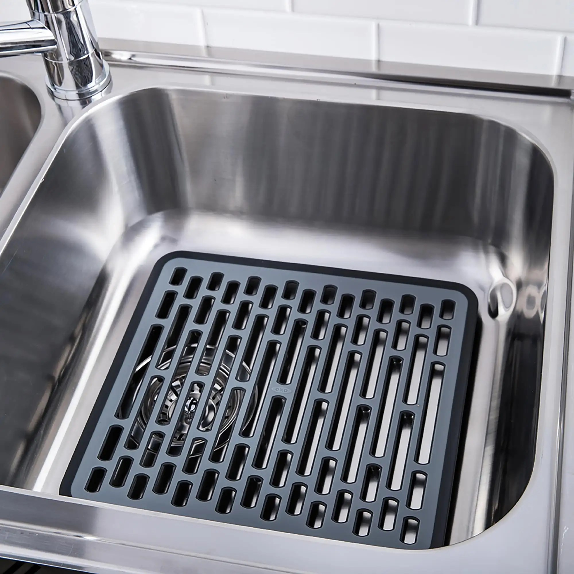 oxo good grips sink silicone sink mat small black grey