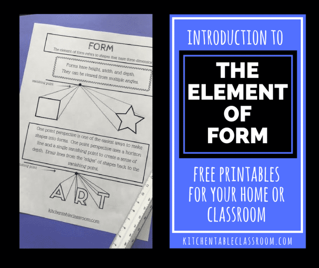 Although the element of form may seem a little tricky it's really simple. A shape is flat. A form takes up space in the room. Form has volume.