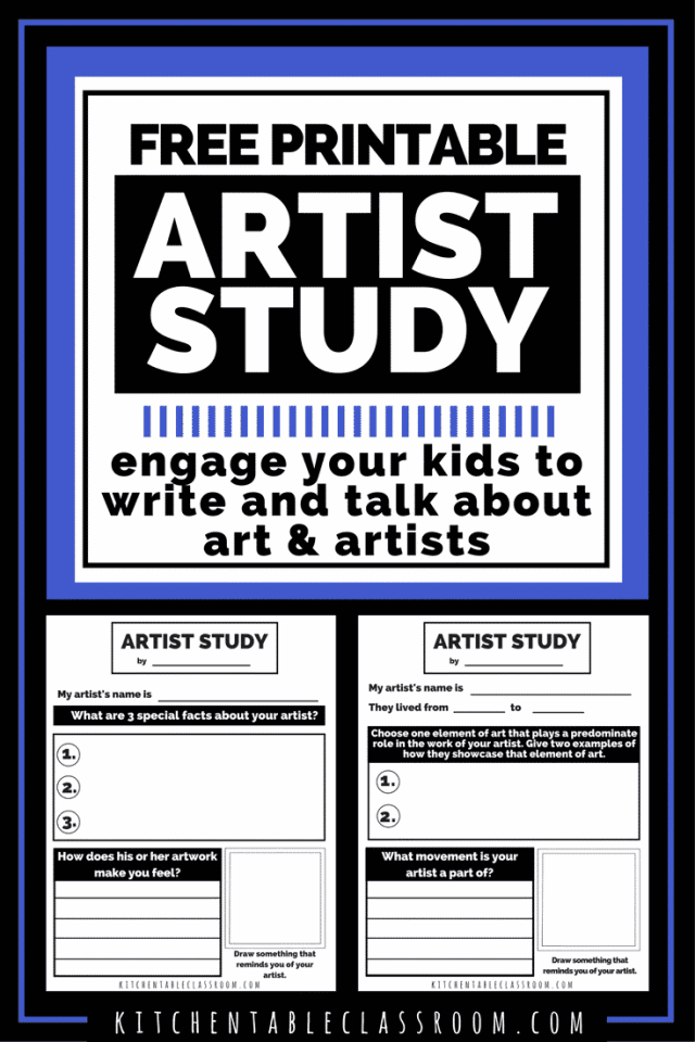 Studying great artists is an easy way to connect vocabulary, art history, and personal connections to artwork. Get your free artist study printables!