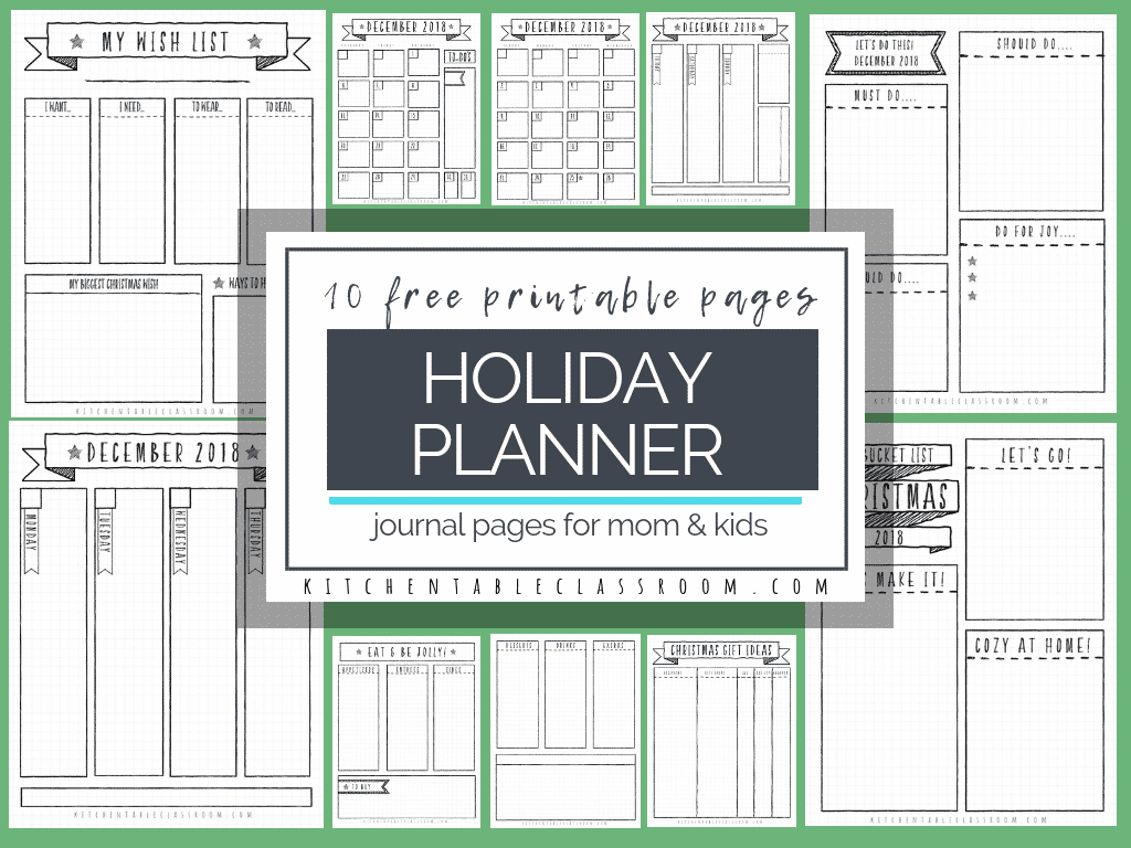 Holiday Planner For Kids Amp Mom Ten Free Pages Of Bullet Journal Inspired Fun