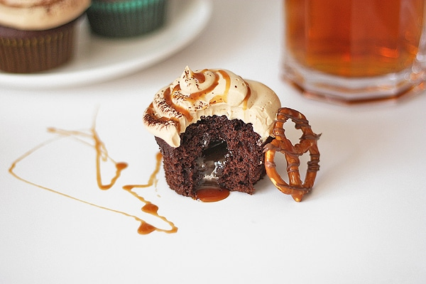 salted caramel chocolate beer cupcake