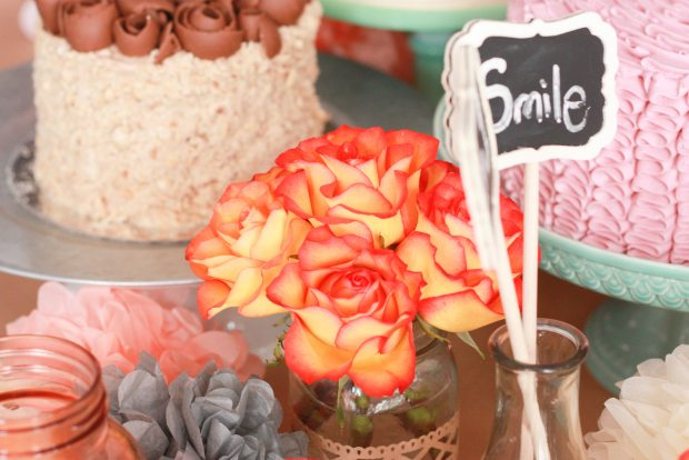 vintage pink party flowers