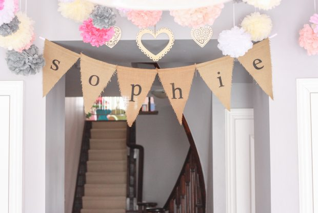 vintage pink party name banner