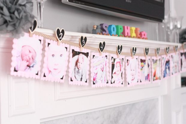 vintage pink party photo banner 2