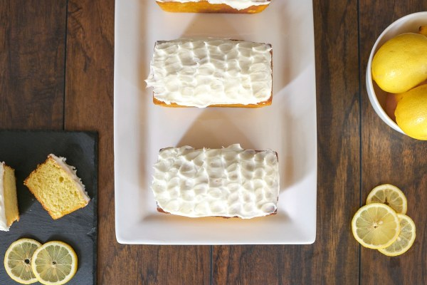Creamy lemon loafs with a fresh and tart lemon frosting (shhh, they're better than Starbucks)