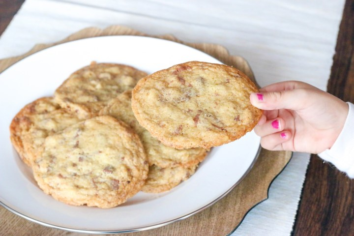 Wafer thin cookies that bake up super crisp with caramelized edges and just enough slivered chocolate marbled through.