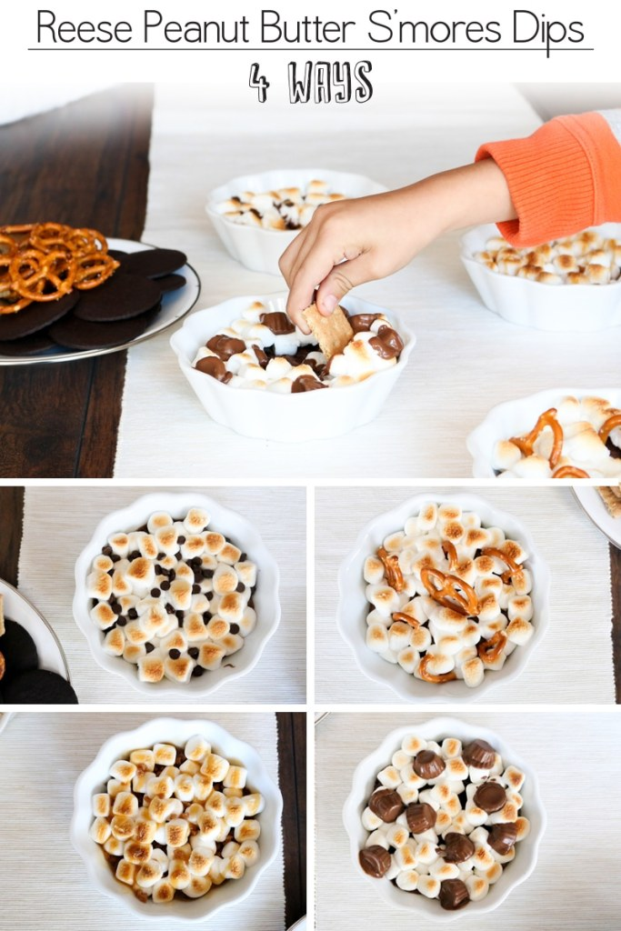 Reese peanut butter s'mores dip four ways! Salted pretzel, classic chocolate, toffee caramel, and double chocolate hit. OMG these were so good, and so fast to make!