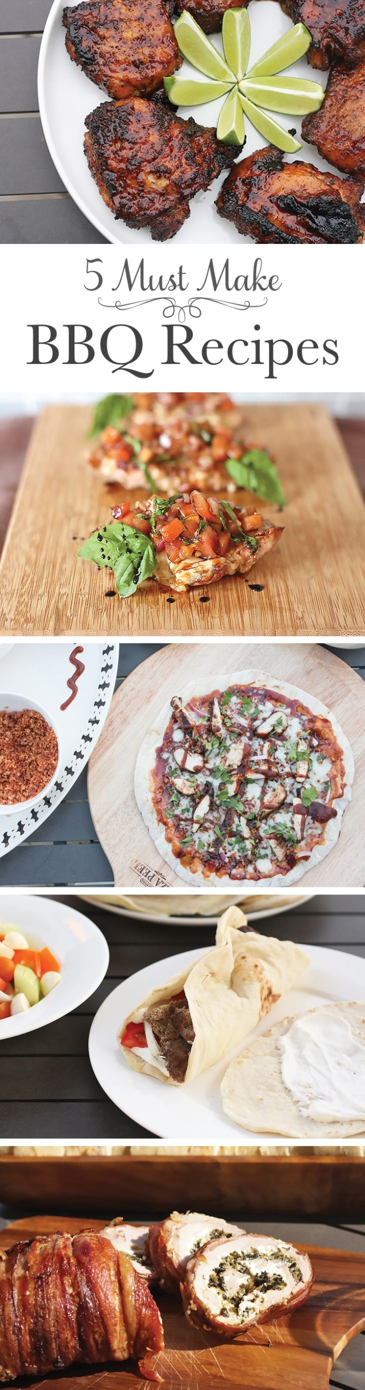My top five BBQ recipes that no summer should go without: Ancho Chili and Tequila Glazed BBQ Chicken Thighs, Homemade Gyros, Brushetta Topped BBQ Pork Chops, BBQ Chicken Pizza (bonus: the ultimate guide to pizza on the grill), and Spinach and Cheese Stuffed Bacon Wrapped Pork Tenderloin.