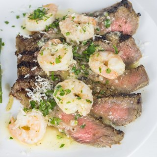 Buttermilk Ribeye with Garlic Shrimp