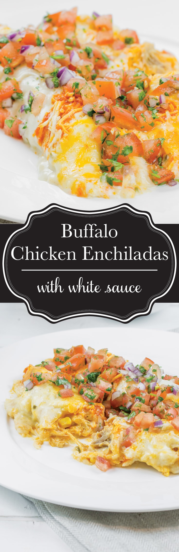 Buffalo chicken enchiladas with a jalapeno and sour cream white sauce. The ultimate man meal!