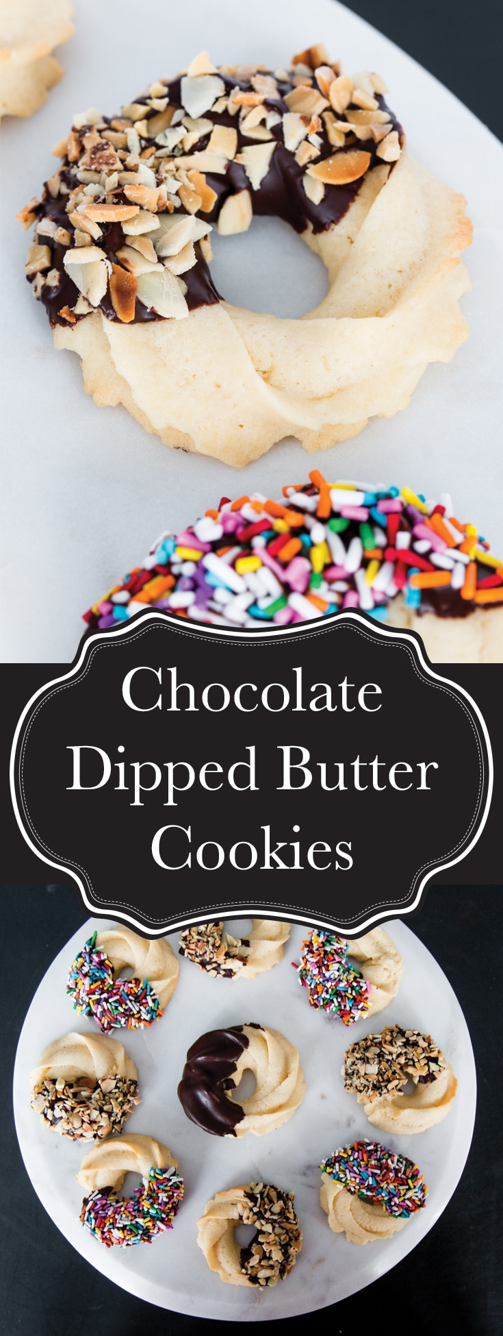 Crisp and delicate butter cookies dipped in dark chocolate and covered with toasted almonds (or sprinkles)