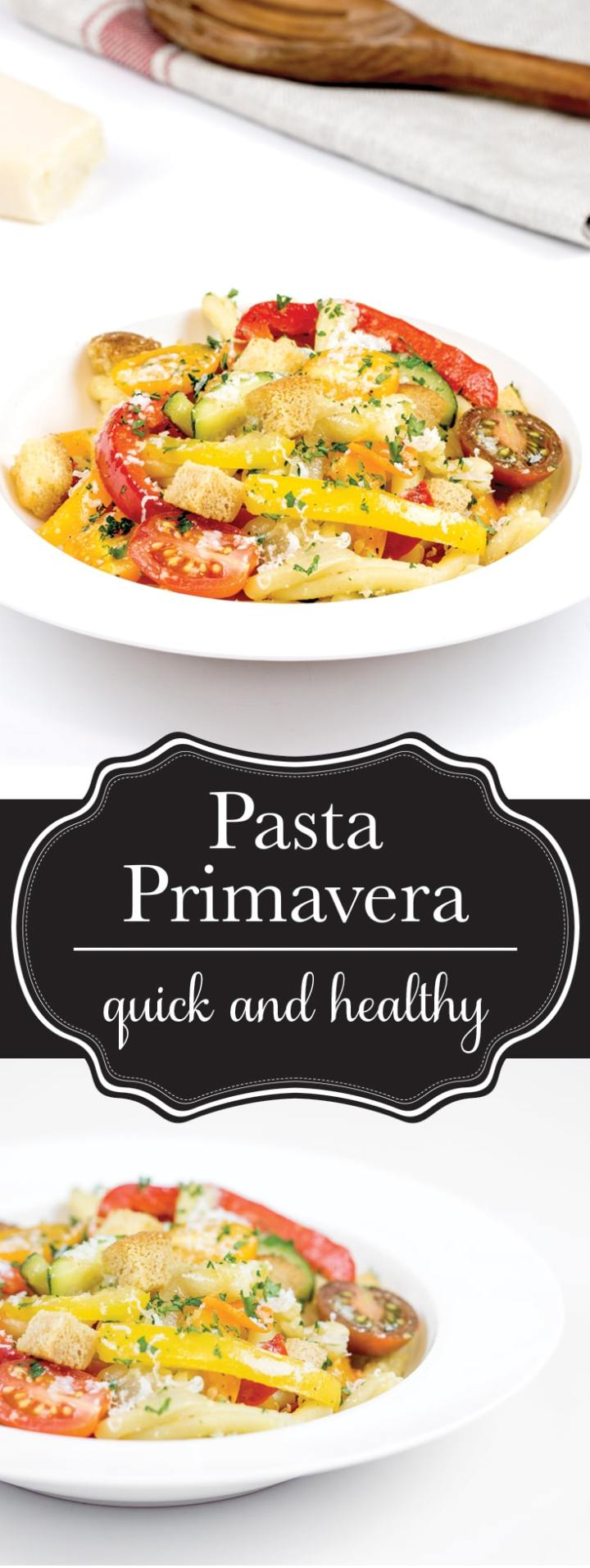 Pasta primavera is one of my favourite pasta dishes, especially in the summer! It's loaded with tons of healthy veggies that I can get locally and in season, and it comes together SO FAST! Seriously, who doesn't love a dinner that's start to finish in less than 30 minutes.
