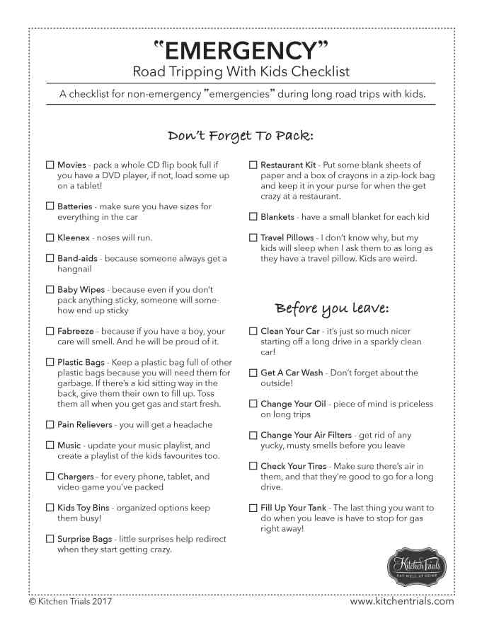 """My non-emergency """"emergency"""" checklist for long road trips with kids - part of my tips and tricks to survive long road trips with kids!"""