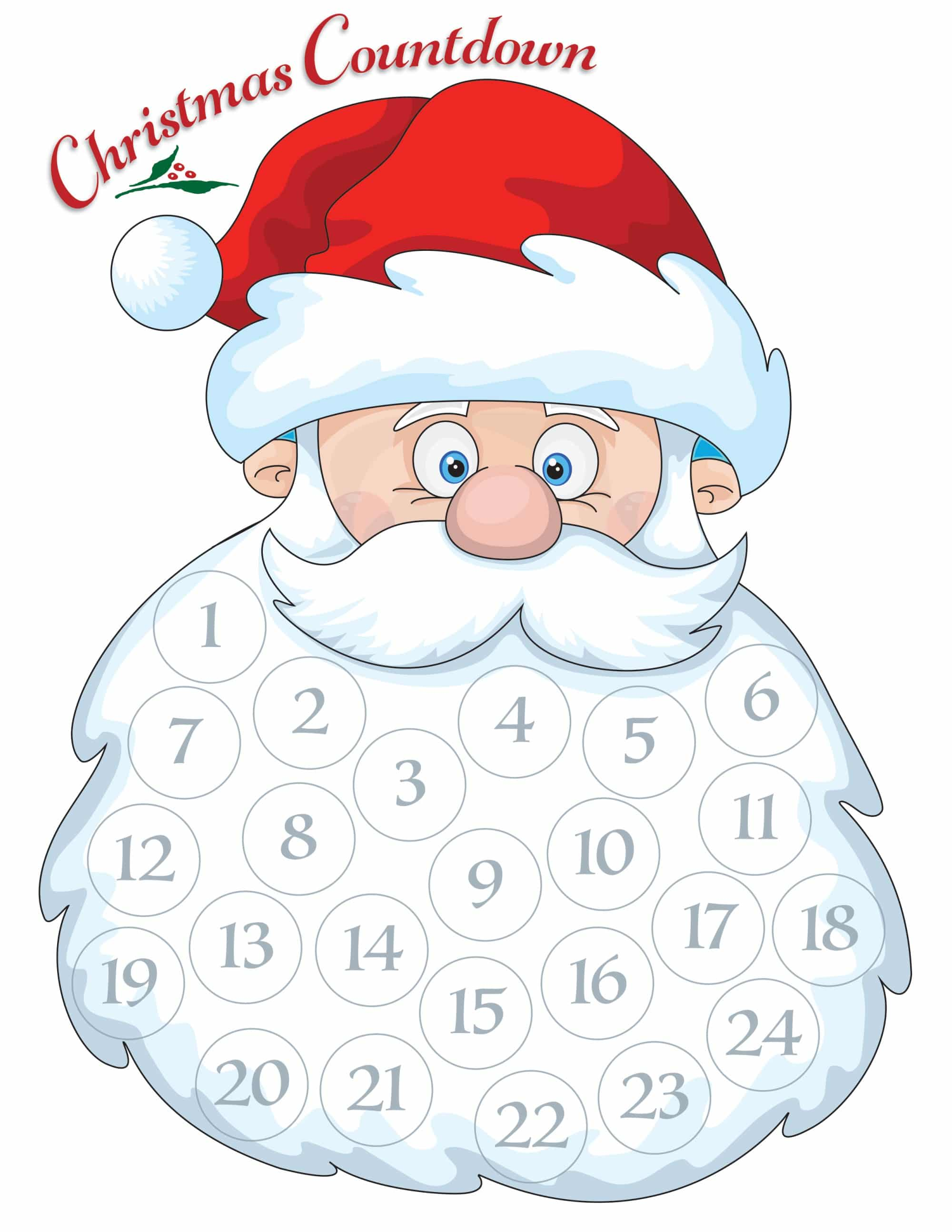 picture relating to Printable Beard identified as Santa Beard Countdown Calendar - Cost-free getaway entertaining for the