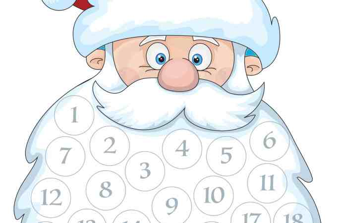 Santa Beard Countdown Calendar - a free printable - Just glue cotton balls onto the numbers and watch Santa's beard fill in as we count down to Christmas Eve!