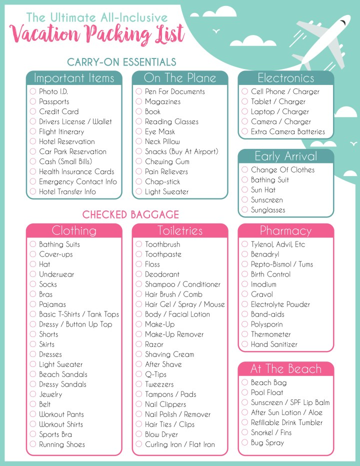 Beach Vacation Packing List for Adults