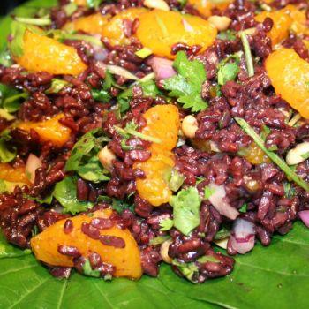 Black Rice salad with mandarin oranges and cilantro