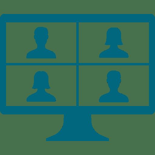 VIRTUAL MEETING ON MONITOR ICON