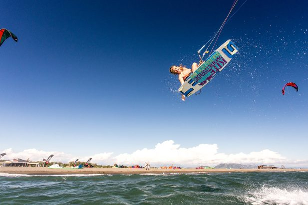 Windy, warm kitesurfing
