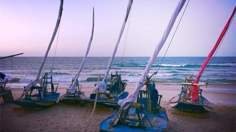 Beach boats Taiba, Brazil