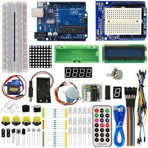 H017 UNO R3 Starter Kit 1602 LCD Servo Motore Dot Matrix Breadboard LED per Arduino kit02