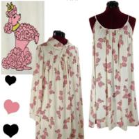 Pink Poodle Print Retro Lingerie Set