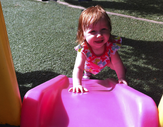 Harriet loves playing in the Family Place garden.