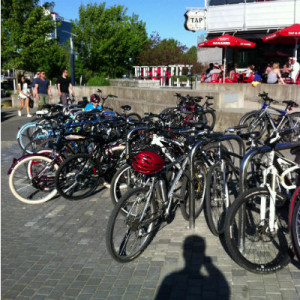Bike rack is full at the Tap and Barrel on the Seawall in the Olympic Village. Safety in numbers: your bike probably won't be stolen from here