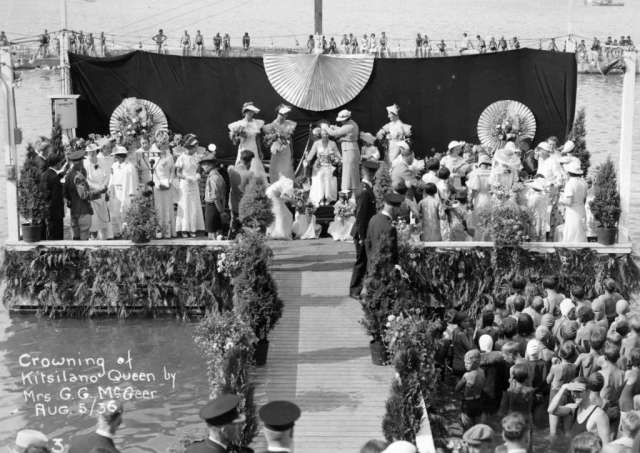 Image: Vancouver Archives, 1936 crowning of Kitsilano Queen Marjorie Wilson by Mrs. G.G. McGeer, AM303-: CVA 294-47