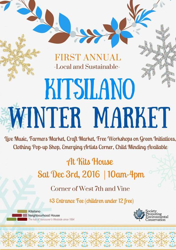 Kitsilano Winter Market Held Dec 3, 10-4, at the Neighbourhood House