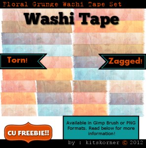 Floral Grunge Washi Tape PNG and Brush Set Freebie