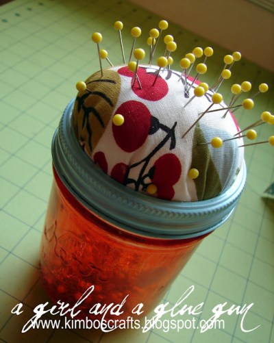 DIY Jar Pin Cushion Tutorial by KimbosCrafts @ KitsKorner