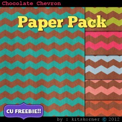 Chocolate Chevrons Scrapbook Paper Pack CU Freebie