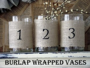 Numbered Burlap Vases Tutorial