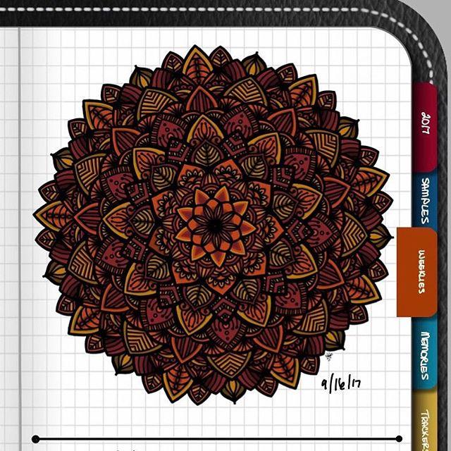 TBT : Closeup of Bullet Journal Mandala from 9/16/17