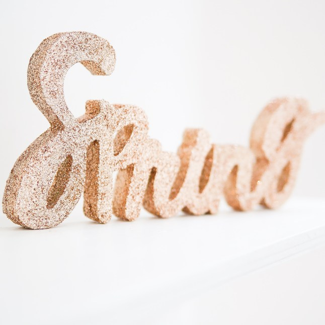 Word Cut Out Glitter Decoration DIY