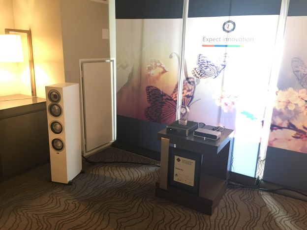 """Elac UF5 towers - these are 499ea!!!! UNREAL SOUND... I asked Andrew, """"where is the sub?"""""""