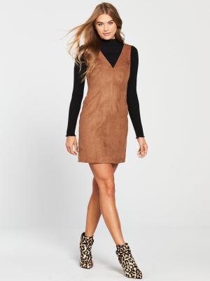 Brown Suedette Dress